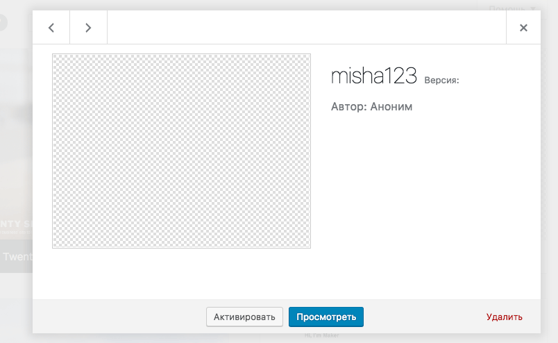 Тема без информации в WordPress