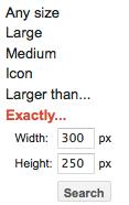 фильтр поиска по точным размера изображений