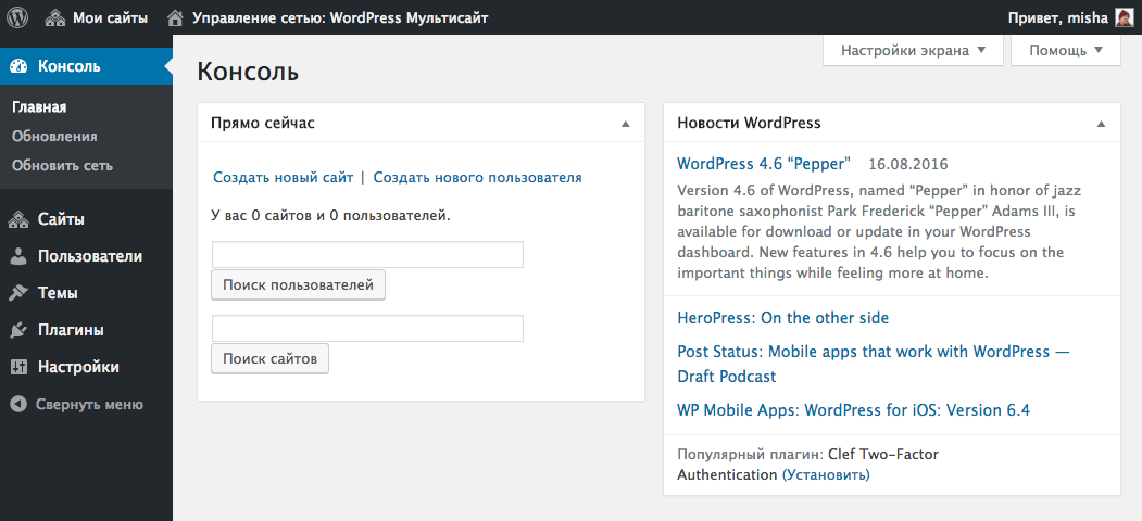 Консоль сети WordPress Multisite