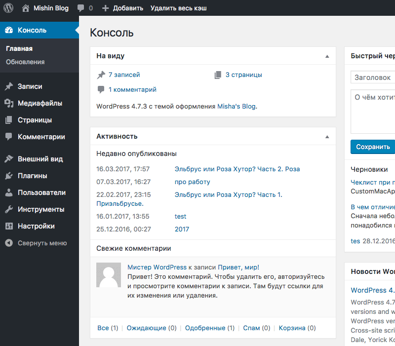 Новая админка WordPress 4.7.3