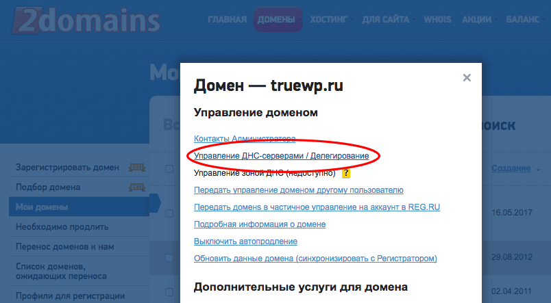Смена DNS на сайте 2domains.ru