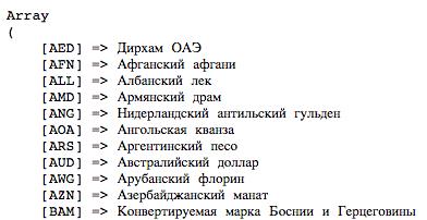 Массив валют в WooCommerce с учетом русской локализации сайта