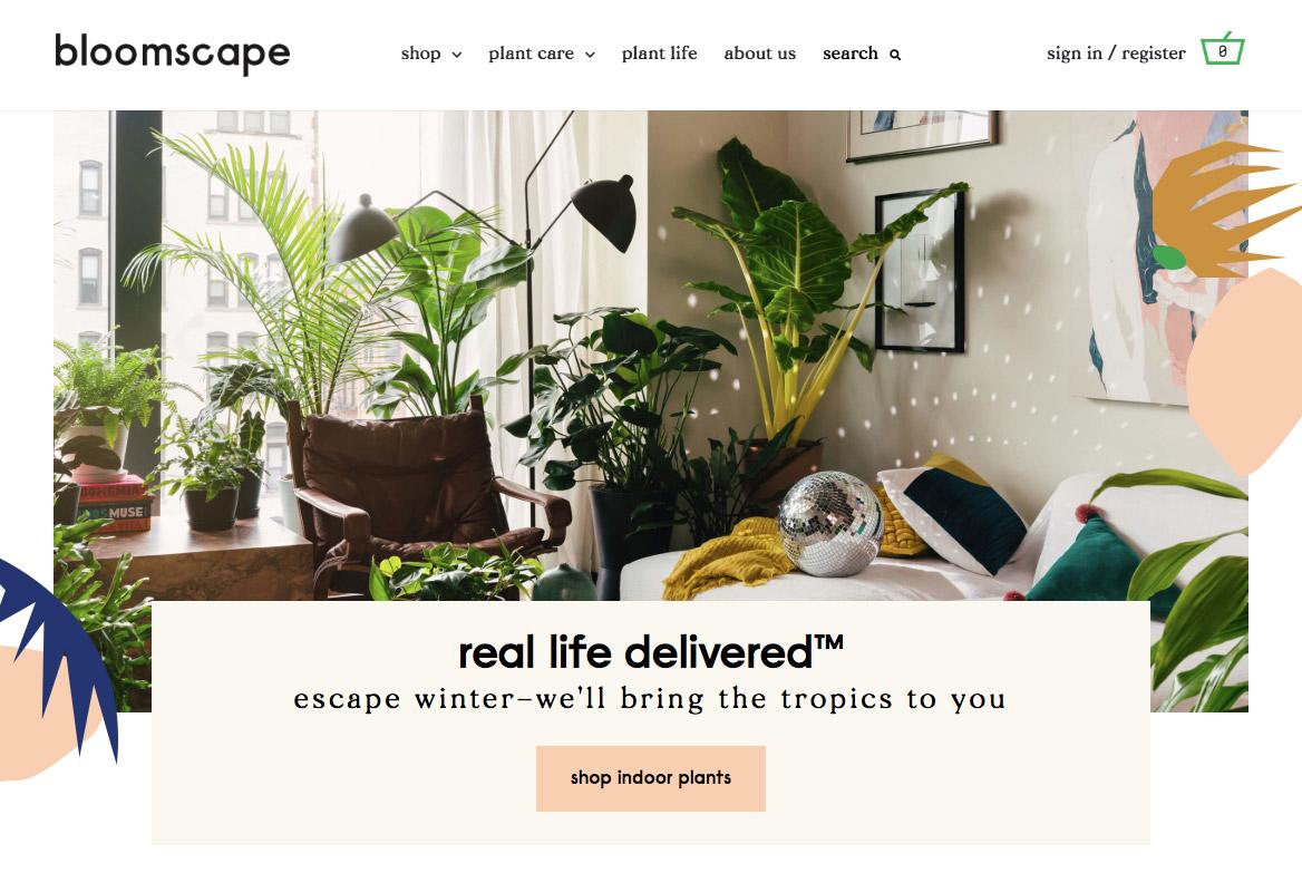 bloomscape красивый сайт на WooCommerce с вариативными товарами