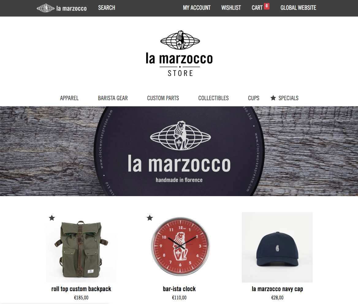 сайт LaMarzocco создан на WordPress и WooCommerce