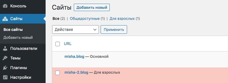Отображаемые статусы сайтов в сети WordPress Multisite