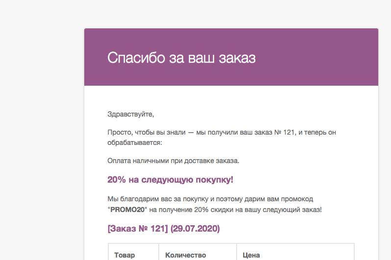 email покупателю в WooCommerce с сообщением о скидке