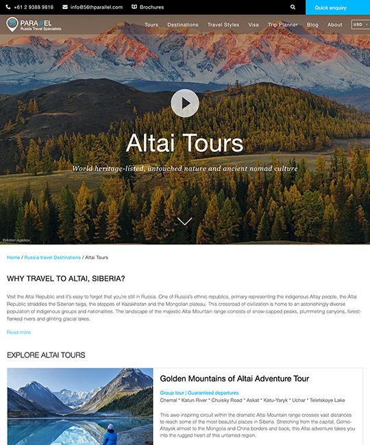 страница определённого туристического направления сайта 56thparallel