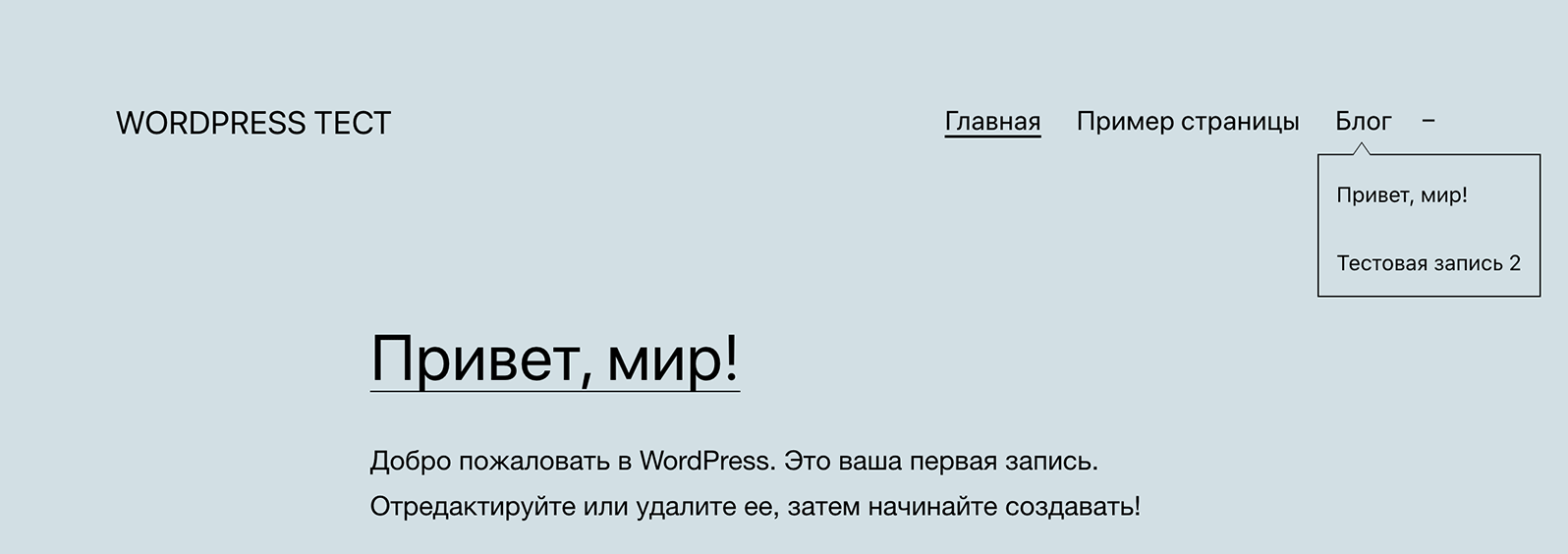 меню WordPress на сайте