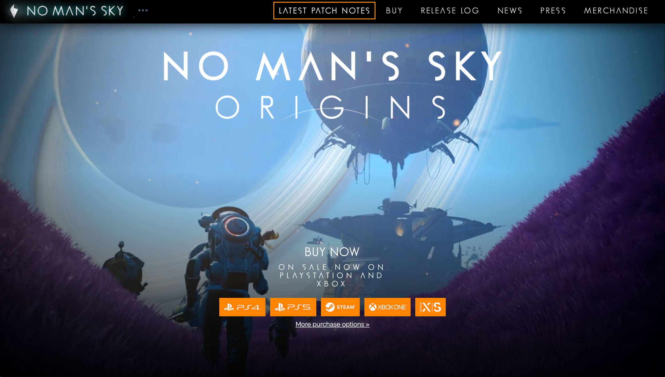 Сайт компьютерной игры No Man's Sky