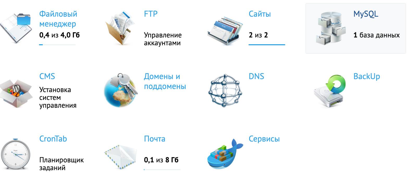 Страница с базами данных в панели управления хостингом