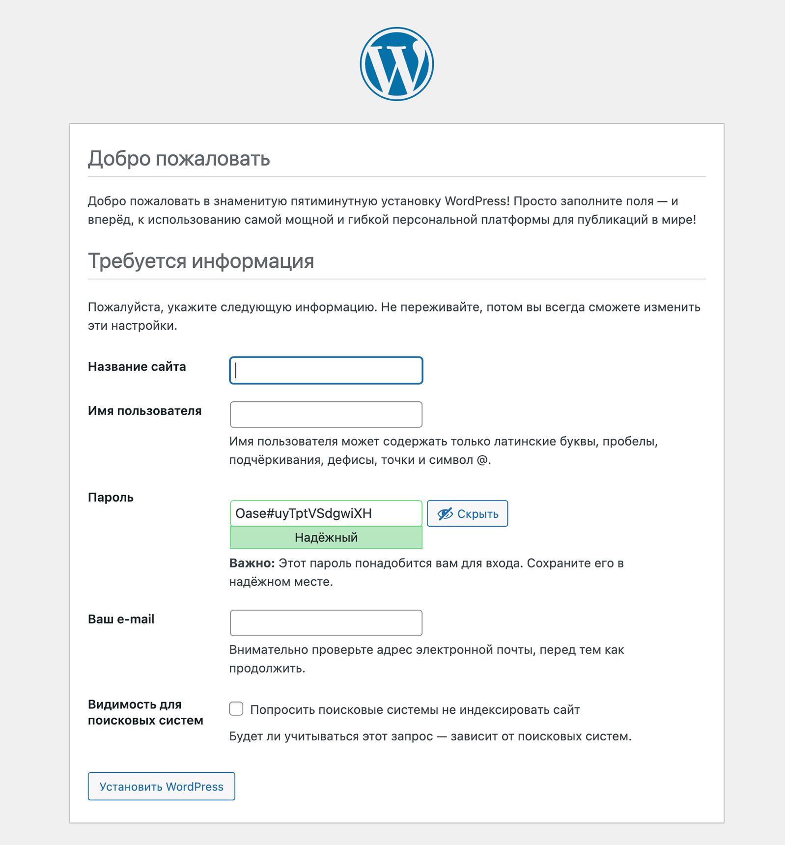 Страница установки WordPress с настройками сайта