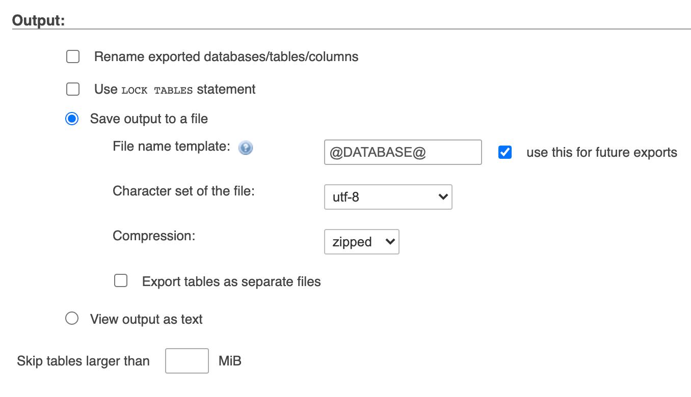 Экспорт базы данных в файл архива