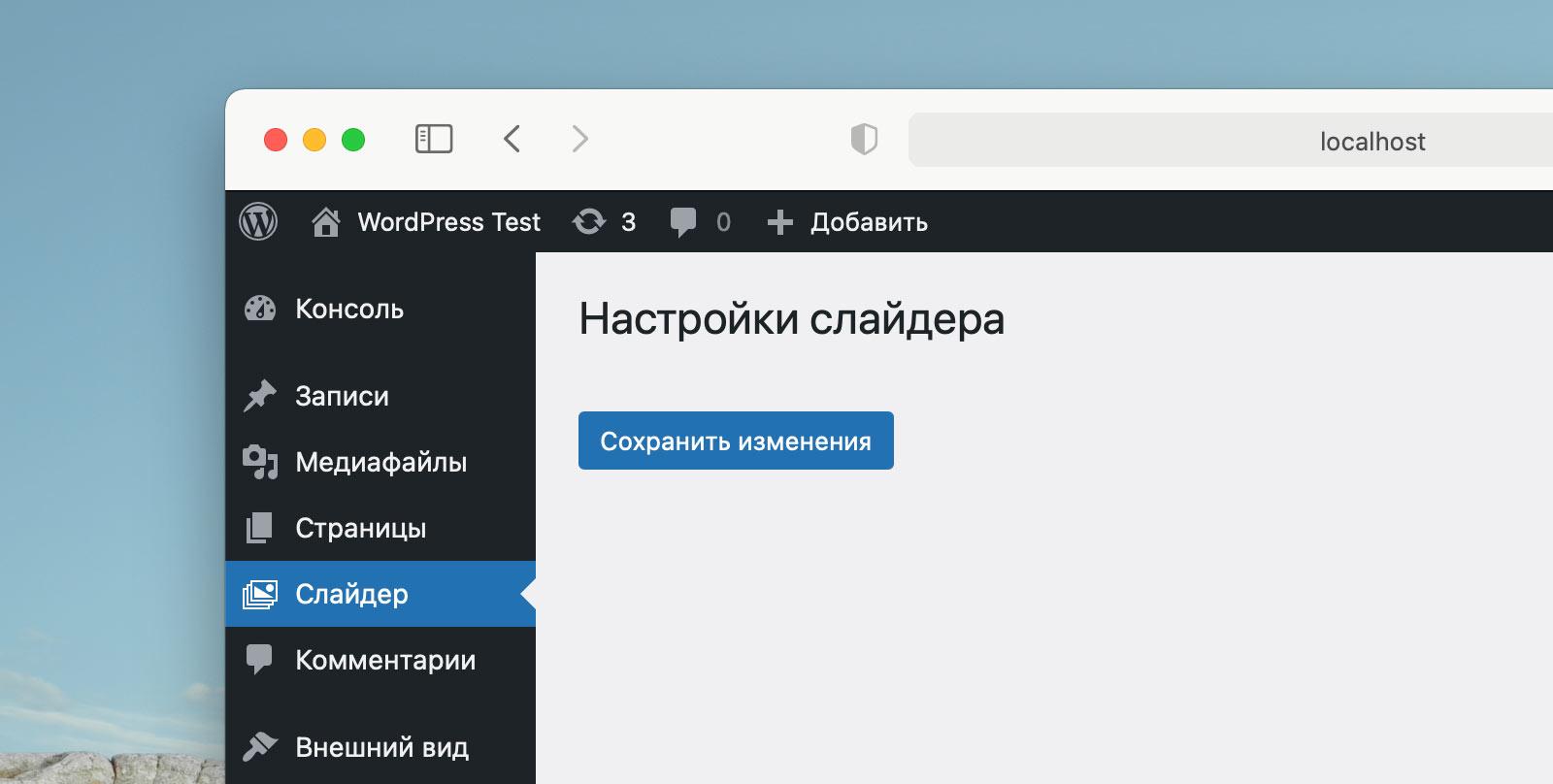 Страница настроек в WordPress без полей