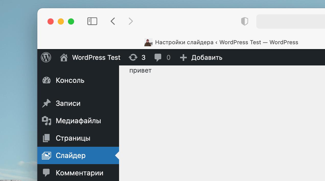 Тайтл страницы настроек WordPress