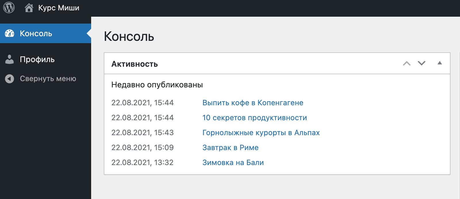 админка у подписчика WordPress